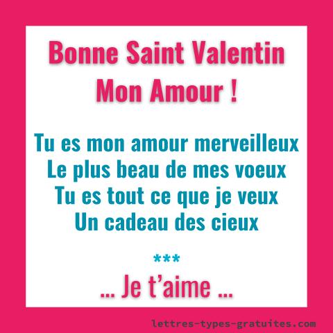 Jolie carte romantique de la St Valentin