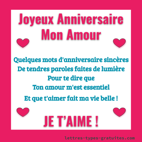 Carte Joyeux anniversaire Mon amour - Message bon anniversaire Je t'aime