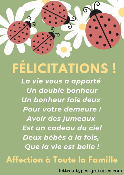 Texte Naissance Jumeaux Jumelles Felicitation Citation Sms Poeme Carte