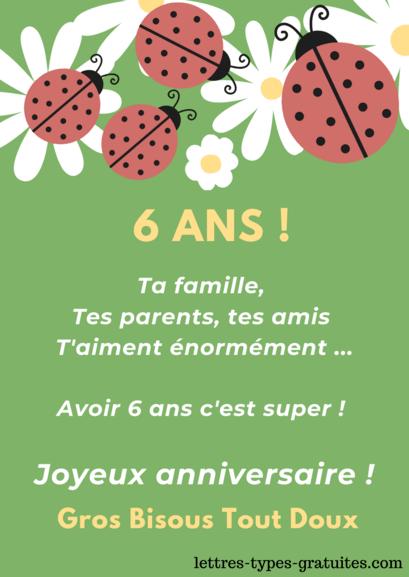 Jolie carte Joyeux anniversaire 6 ans