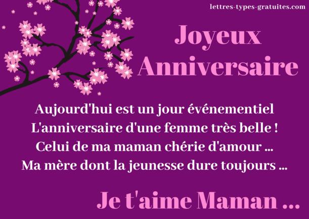Jolie carte pour l'anniversaire de sa maman - Dire je t'aime à sa mère