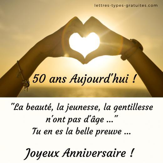 Jolie Image Joyeux Anniversaire 50 ans - Carte anniversaire 50 ans originale