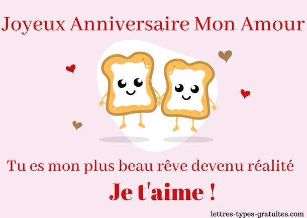 Carte anniversaire amour - Image bon Anniversaire Je t'aime