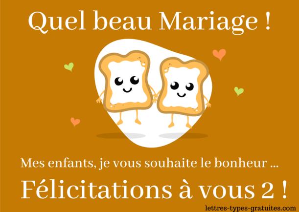 Jolie carte félicitation Mariage des Parents - Mariage de ma fille ou mon fils