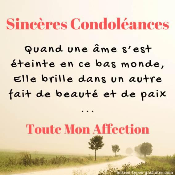 Jolie carte Condoléances - Image deuil