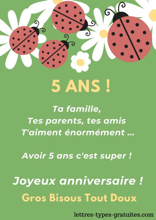 Jolie carte Joyeux Anniversaire 5 ans Anniversaire Fille ou garçon 5 ans