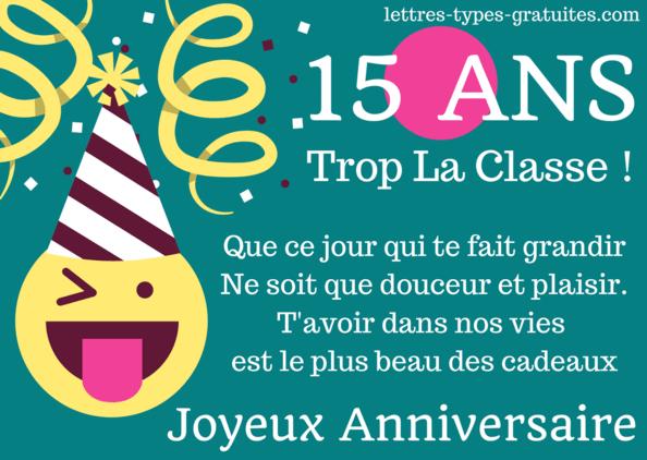 Jolie carte joyeux anniversaire 15 ans à imprimer - Fille ou Garçon