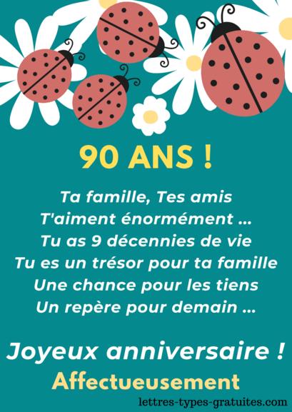 Belle carte anniversaire 90 ans gratuite à impr- Jolie citation 90 ans à offrir