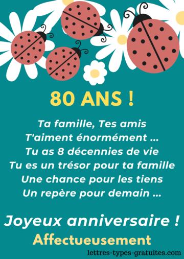 Belle carte anniversaire 80 ans pour une femme âgée ou un homme âgé Jolie citation 80 ans à offrir