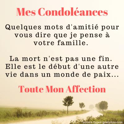 Belle carte de condoléances pour une famille d'amis en deuil