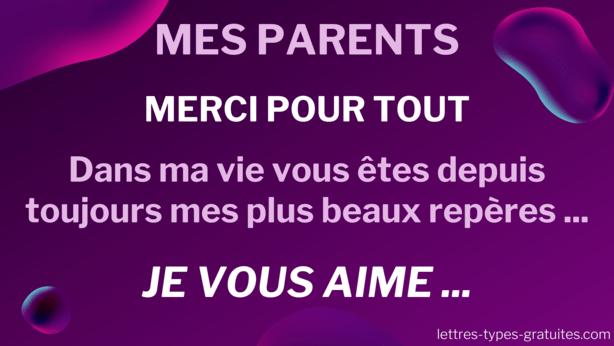 Jolie carte pour ses parents pour leur rend hommage et leur dire merci papa et maman