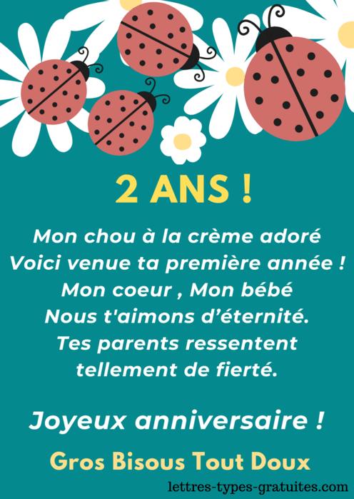 Carte anniversaire 2 ans fille - Jolie Image joyeux anniversaire garçon