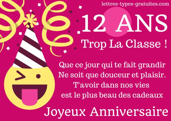 Carte anniversaire 12 ans à imprimer Image Joyeux anniversaire fille ou garçon