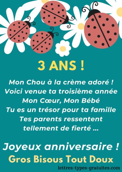 Carte anniversaire 3 ans Fille Image joyeux anniversaire Garçon