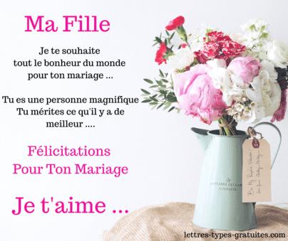 Jolie carte pour féliciter sa fille pour son mariage